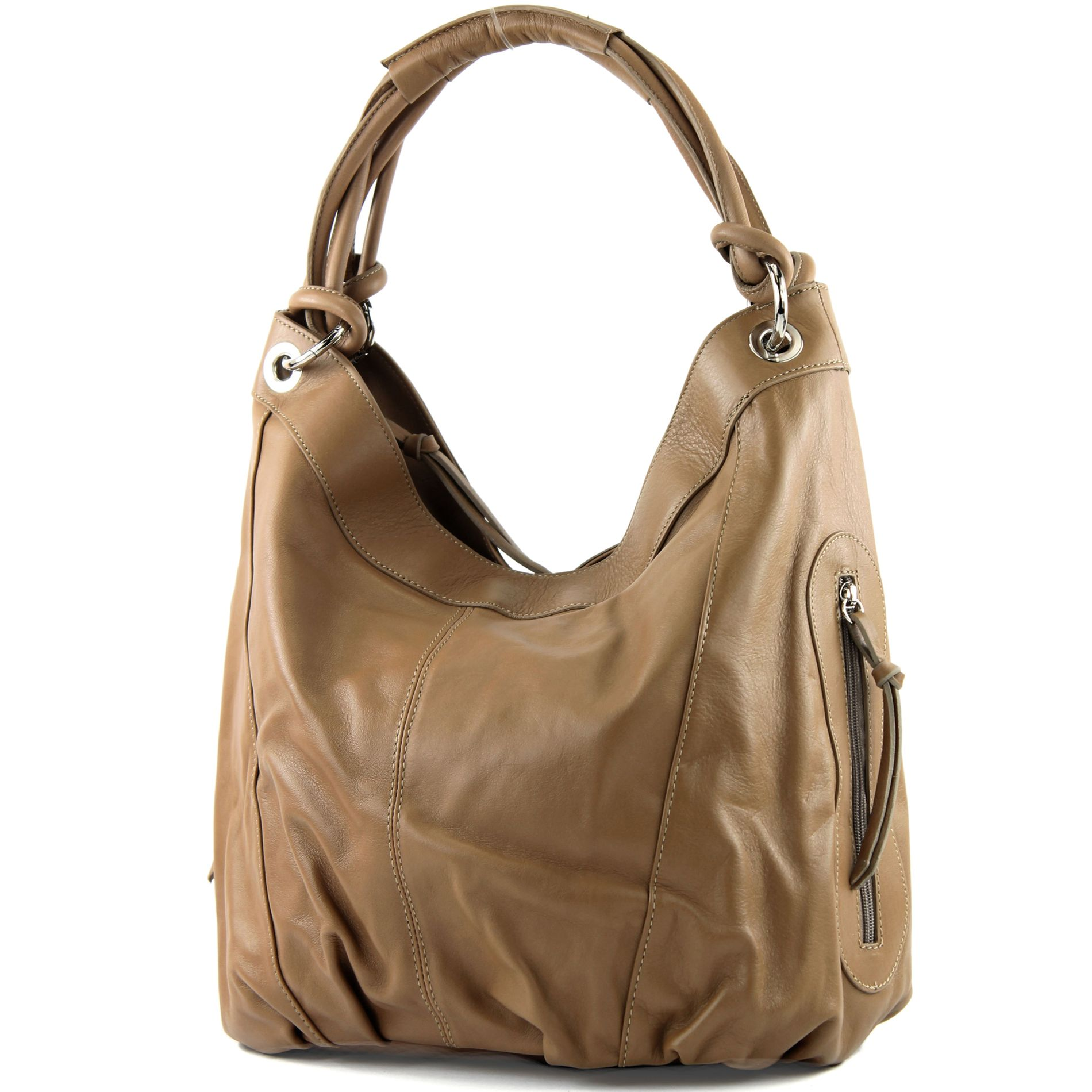 modamoda de - ital. Ledertasche Damenhandtasche Schultertasche Leder + Nappaleder Z18, Präzise Farbe:Dunkelblau Leder modamoda de - Made in Italy
