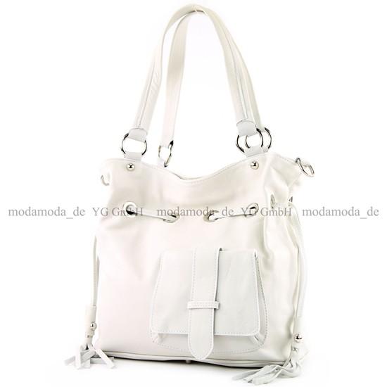 modamoda de - ital. Ledertasche Damentasche Handtasche Schultertasche Nappaleder DS53, Präzise Farbe:Schwarz modamoda de - Made in Italy