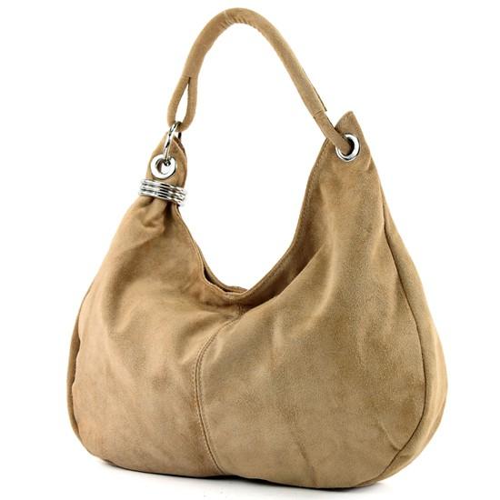 modamoda de - ital. Ledertasche Schultertasche Shopper Damentasche Wildleder Groß T02, Präzise Farbe:Hellcamel modamoda de - Made in Italy