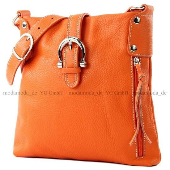 modamoda de - ital. Ledertasche Umhängetasche Messenger Echtleder Citytasche klein T04, Präzise Farbe:Orange modamoda de - Made in Italy