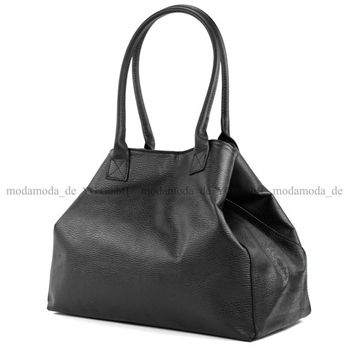 modamoda de - T60 -  ital Damen Schultertasche aus Leder Groß  – Bild 2