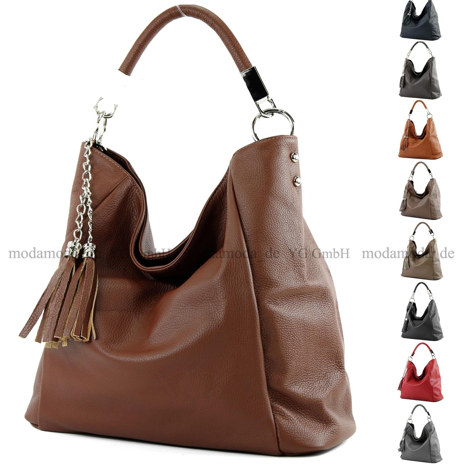 Ledertasche Schultertasche Damentasche Handtasche Shopper Leder groß T108 ital