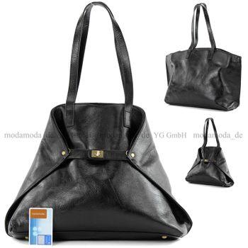modamoda de -T115 - ital Handtasche Schultertasche aus Leder  – Bild 1