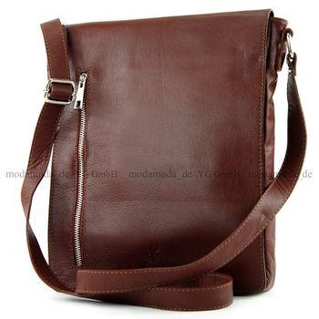 modamoda de - T117 - ital Messengertasche aus Nappaleder  – Bild 2