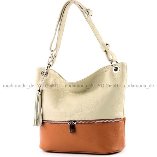 modamoda de - ital. Ledertasche Damentasche Umhängetasche Tasche Schultertasche Leder T143, Präzise Farbe:Elfenbein/Camel modamoda de - Made in Italy