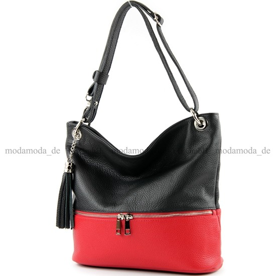 modamoda de - ital. Ledertasche Damentasche Umhängetasche Tasche Schultertasche Leder T143, Präzise Farbe:Dunkelblau modamoda de - Made in Italy