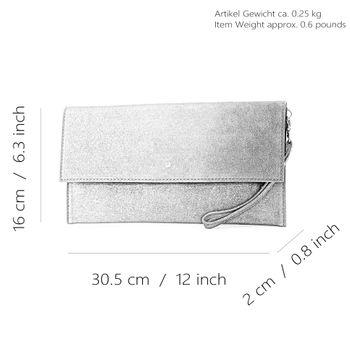 modamoda de - T151 - ital. Clutch Wildleder / Leder Metallic  – Bild 4