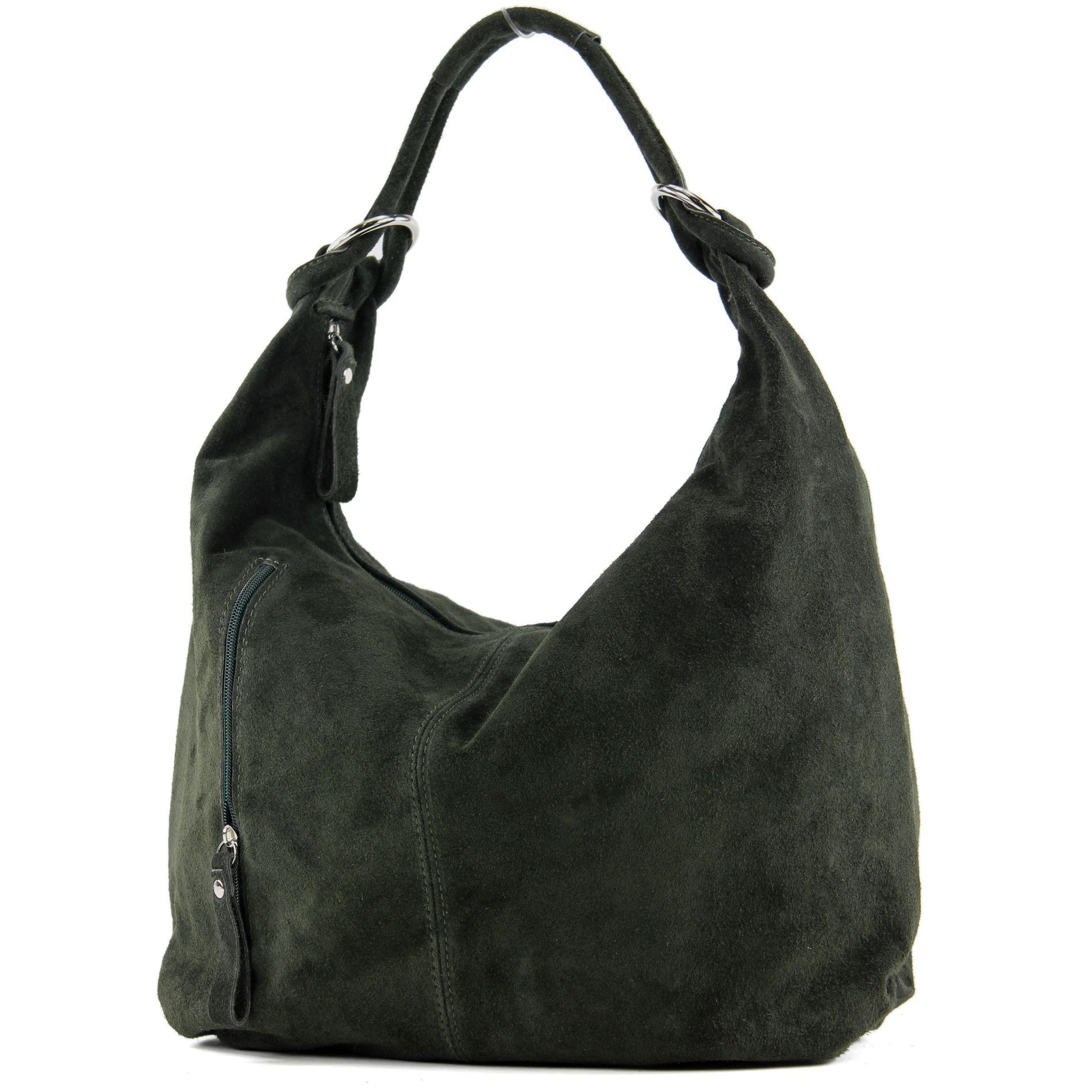 Damentasche-Gross-ital-Ledertasche-Hobo-Bag-Schultertasche-Wildleder-851T Indexbild 16