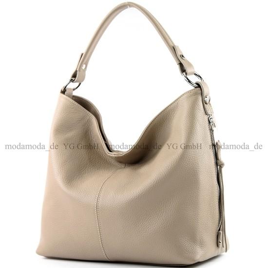 modamoda de - ital. Ledertasche Shopper Damentasche Bürotasche Schultertasche Leder T160, Präzise Farbe:Beige modamoda de - Made in Italy