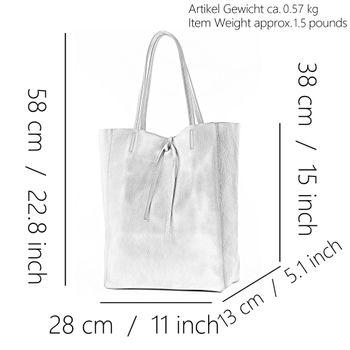 modamoda de - T163 -  Ital. Shopper Schultertasche aus Leder  – Bild 4