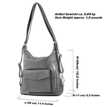 modamoda de - T174 - ital Damen Rucksack Tasche aus Leder  – Bild 4