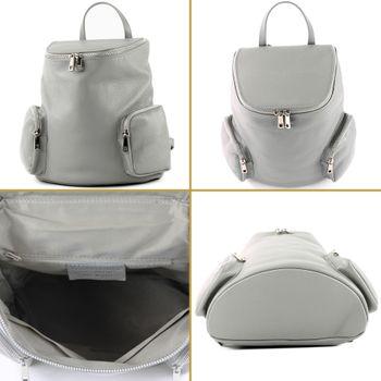 modamoda de - T175 - ital Damen Rucksack Tasche aus Leder – Bild 4