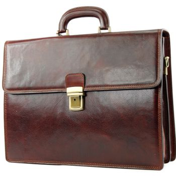 modamoda de - A008 - ital. Business Laptop Akten Tasche Leder  – Bild 3