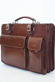 ital Leder Aktenkoffer in Braun NL01HB von modamoda de  – Bild 2