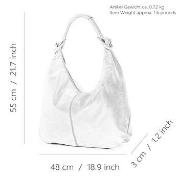 modamoda de - 337 - ital Schultertasche Hobo Shopper Leder  – Bild 2