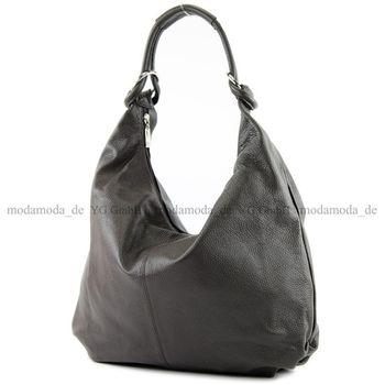 modamoda de - ital Schultertasche Hobo Shopper Leder 337 – Bild 17