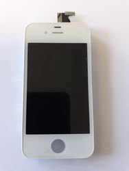LCD Display Unit (inc Digitizer Touchpad / Front Glass Cover) in White for iPhone 4G  001