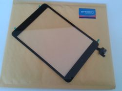 SINTECH© Premium Digitizer Touch pad with Front panel Glass Cover for iPad Mini, black with IC Chip and Home Button flex included 001