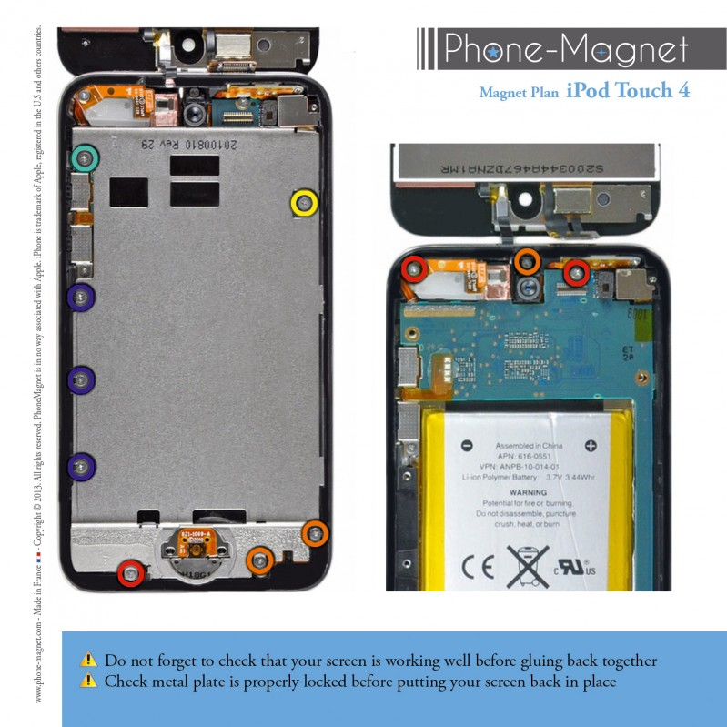 Phone-Magnet: professional magnetic mat for screws of the iPod Touch 4