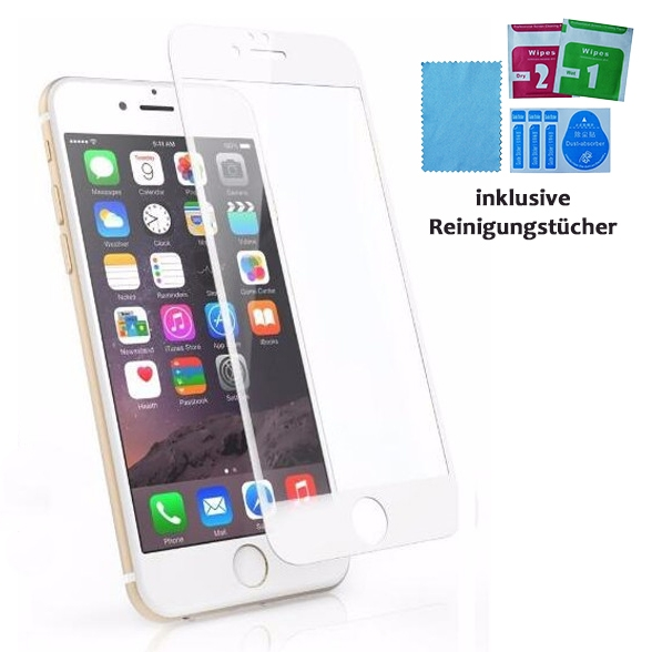 9H HD Super Hardness Screen Protector iPhone 6 / 6S white SINTECH© Premium – Bild 1