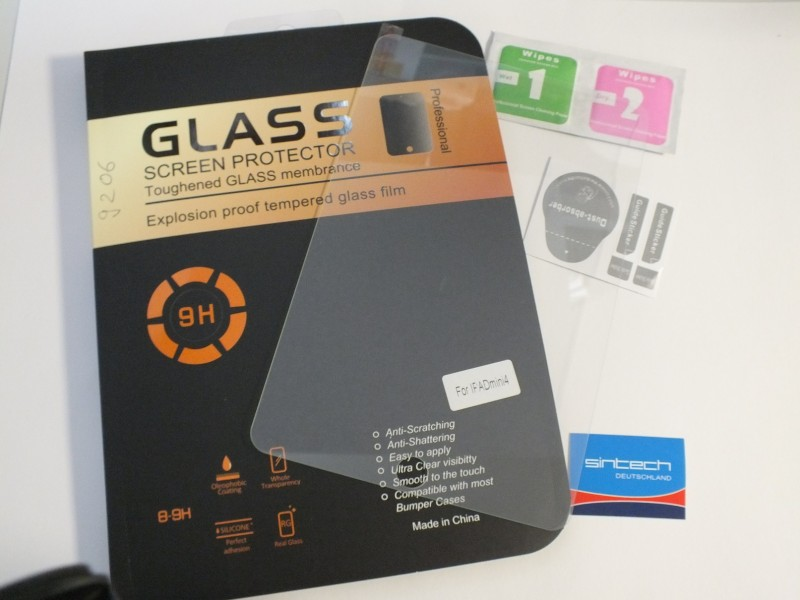 SINTECH© Premium Tempered glas/ screen protector / Burst screen safety glas 9H for iPad Mini 4