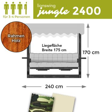 "Hollywoodschaukel ""Jungle"" 2400 (für 3-4 Personen) Holz"