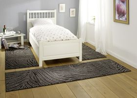 Design Teppich / Bettumrandung Leaf Dunkelbraun Creme Grau – Bild 1