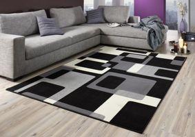 Designer Velours Teppich Retro Schwarz / Creme – Bild 4