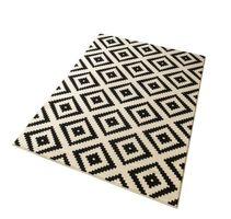 Designer Velours Teppich Raute Schwarz Creme  – Bild 3