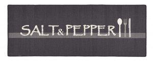Design Velours Küchenläufer Salt & Pepper Grau Weiß 67x180 cm – Bild 1