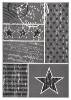 Design Velours Teppich Patchwork Stars Grau 140x200 cm  – Bild 1