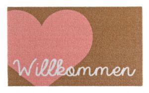 Fußmatte Schmutzfangmatte Willkommen Herz Rosa Braun 50x70 cm – Bild 1