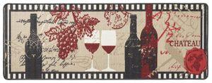 Design Velours Küchenläufer Chateau Schwarz Beige Rot 67x180 cm – Bild 1