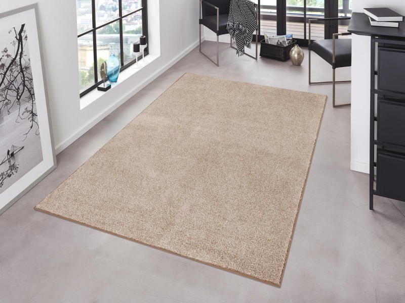Krauselvelours Teppich Pure Uni Taupe Creme Hanse Home Pure
