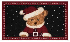Fußmatte Schmutzfangmatte Christmas Teddybear Rot Schwarz 45x75cm – Bild 1