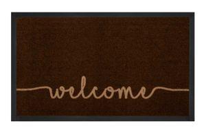 Schmutzfangmatte Cozy Welcome Dunkelbraun Beige 45x75 cm – Bild 1