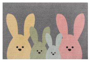 Design Fußmatte Schmutzfangmatte Bunny Family Grau Bunt – Bild 1