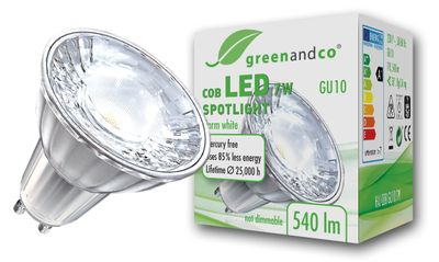 greenandco® GU10 LED COB Spot 7W replaces 45-50W 540lm 3000K (warm white) 38° beam angle 230V AC glass body with protective glass
