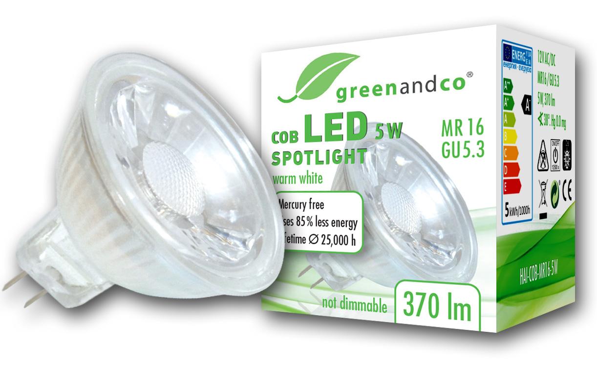 LED Spot ersetzt 33W GU5.3 5W 370lm 3000K warmweiß 38° 12V AC/DC ...