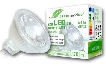 LED Spot ersetzt 33W GU5.3 5W 370lm 3000K warmweiß 38° 12V AC/DC nicht dimmbar 2 Jahre Garantie