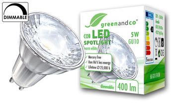 greenandco® dimmable GU10 LED Spot 5W replaces 30-40W 400lm 3000K (warm white) 38° beam angle 230V AC glass body with protective glass