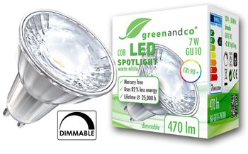 greenandco® dimmable GU10 LED COB Spot 7W replaces 45-50W 530lm 3000K (warm white) 38° beam angle 230V AC glass body with protective glass
