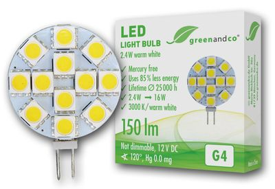 greenandco® Ampoule à LED G4 / 2,4W / 150lm / 3000K (blanc chaud) / 12 x 5050 SMD LED / Angle de diffusion 120° / 12V DC