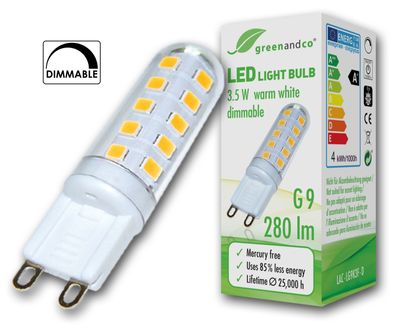 Lámpara LED greenandco® regulable G9 3,5W (corresponde a 25-35W) 280lm 3000K (blanco cálido) 270° 230V AC