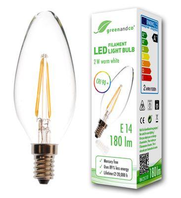 CRI90+ Glühfaden LED Kerze ersetzt 19 Watt E14, 2W 180 Lumen 2700K warmweiß 360° 230V AC, nicht dimmbar, flimmerfrei, 2 Jahre Garantie