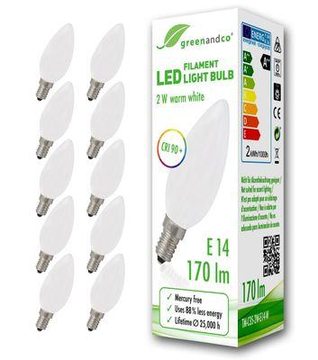 CRI90+ Glühfaden LED Kerze matt ersetzt 18 Watt E14, 2W 170 Lumen 2700K warmweiß 360° 230V AC, nicht dimmbar, flimmerfrei, 2 Jahre Garantie – Bild 3