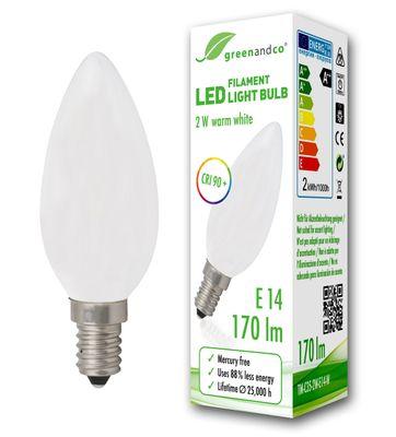 CRI90+ Glühfaden LED Kerze matt ersetzt 18 Watt E14, 2W 170 Lumen 2700K warmweiß 360° 230V AC, nicht dimmbar, flimmerfrei, 2 Jahre Garantie