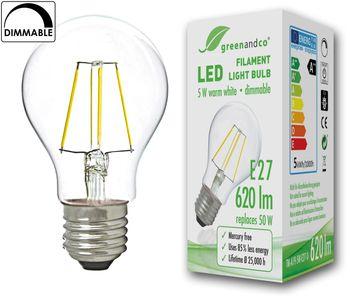 greenandco® Ampoule à Filament LED graduable E27 5W (équivalent 50W) / 620lm / 2700K (blanc chaud) / Angle de diffusion 360° / 230V AC / Verre