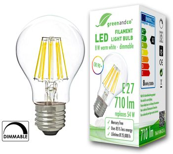 greenandco® dimmable E27 LED Filament Bulb 8W (replaces 70W) / 960lm / 2700K (warm white) / 360° beam angle / 230V AC / Glass bulb