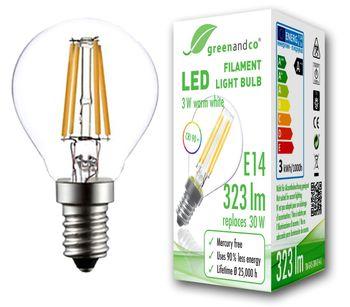 CRI90+ Glühfaden LED Lampe ersetzt 30 Watt E14 G45, 3W 323 Lumen 2700K warmweiß 360° 230V AC, nicht dimmbar, flimmerfrei, 2 Jahre Garantie